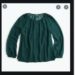 NWT Point Sur J. Crew Emerald Green Sheer Top